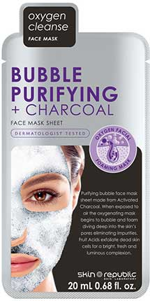 Тканевая маска для лица Skin Republic Bubble Purifying + Charcoal Face Sheet Mask