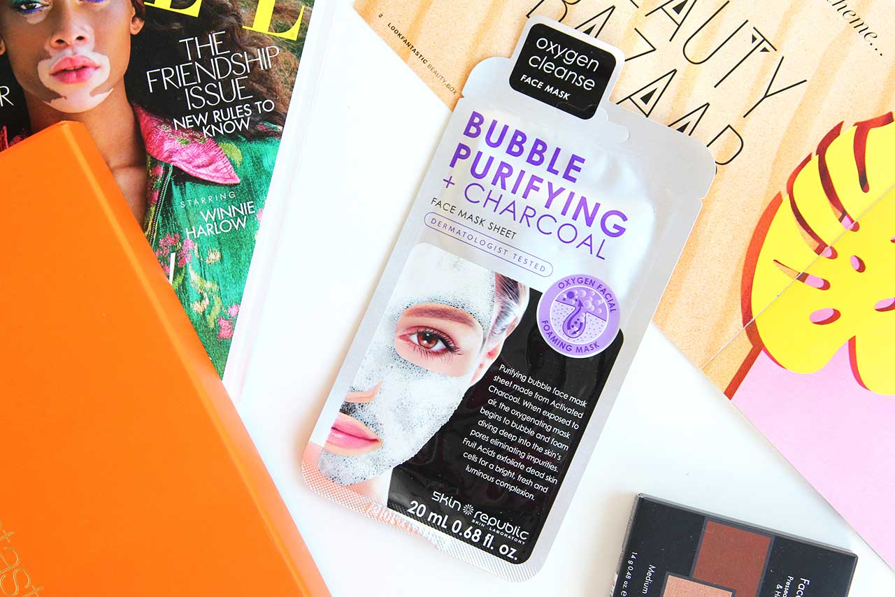 Пузырьковая маска для лица Skin Republic Bubble Purifying + Charcoal Face Sheet Mask